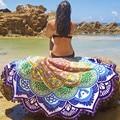 Arredondado hippie tapeçaria tapeçaria toalha de praia de banho lance indiano yoga mat manta azul e flores grandes borlas
