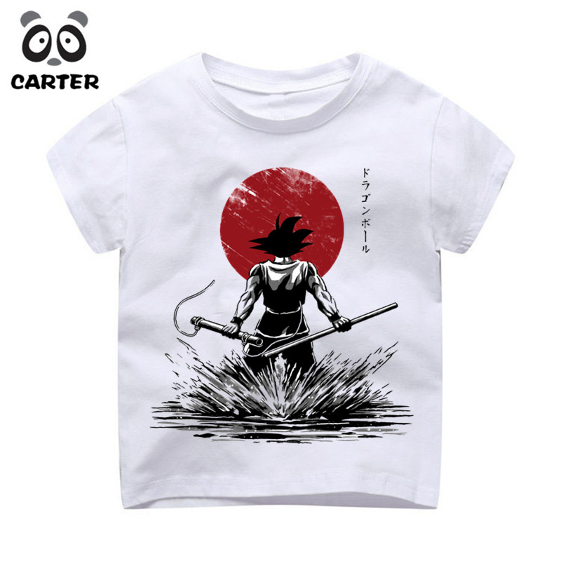 Boy/Girl Cartoon Goku Funny Design Kawaii Print T Shirts Kid Summer O Neck Anime Tshirt Children Cute Tops