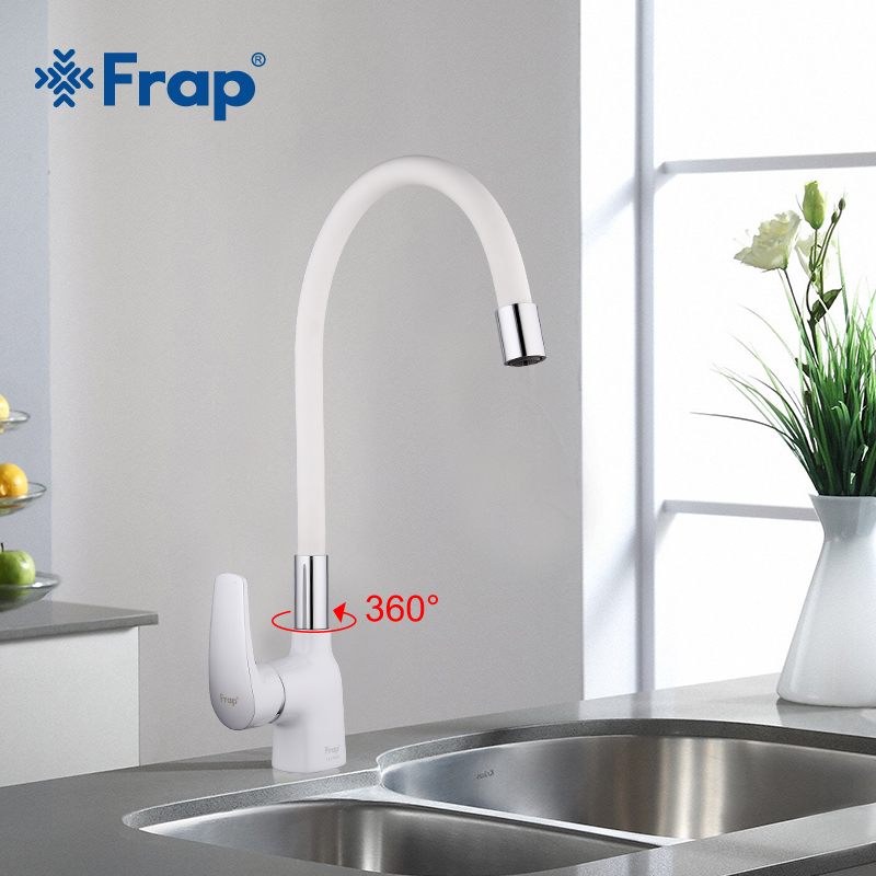 Frap New Arrival White Silica Gel Nose Any Direction Kitchen Faucet Cold And Hot Water Mixer Torneira Cozinha Crane F4453-03