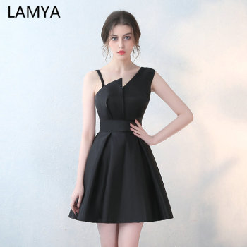Lamya Special Occasion Gowns 5 Colors Short Satin A Line Prom Dresses 2019 Cheap Elegant Evening Party Dress