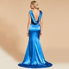 Dressv Royal BlueชุดราตรีMermaid Elegant Vคอลูกไม้ยาวประดับด้วยลูกปัดPartyชุดราตรี