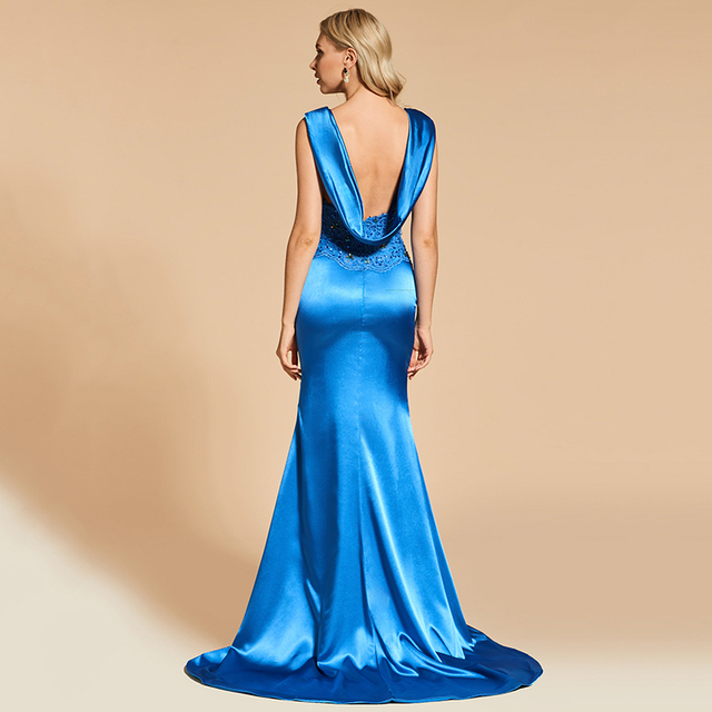 Dressv royal blue evening dress mermaid elegant v neck lace floor length beading wedding party formal dress evening dresses