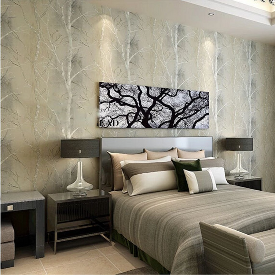 Beibehang natural tree forest textured wallpaper roll for Wallpaper decoration for home