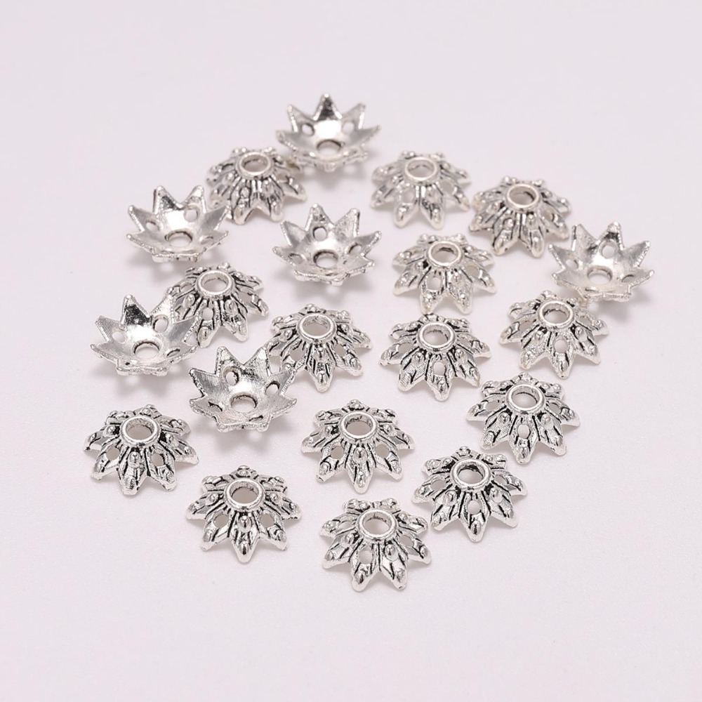 100pcs/Lot 9mm 8 Petals Tibetan Antique Silver Flower Loose Sparer Apart End Bead Caps For DIY Jewelry Making Earrings Wholesale