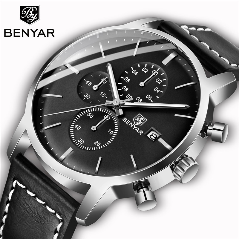 BENYAR Men's Watches Casual Fashion Waterproof Watch Men Top Brand 2019 New Luxury Quartz Chronograph Wristwatch Zegarek Meski