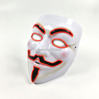 NEW Arrive 10 COLOR Lighting Vendetta EL Mask LED Mask For Party Halloween And Christmas Light
