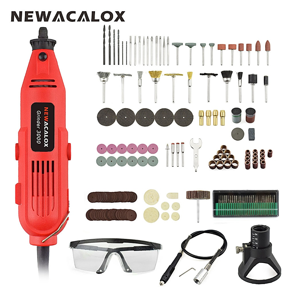 NEWACALOX UE/US 220 v 260 w Mini Perceuse Électrique À Vitesse Variable Moulin de Broyage Machine de Gravure Accessoires Dremel Rotatif outils