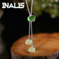 INALIS 2018 New 925 Sterling Silver Necklace Retro Temperament Personality Creative Cloisonne Lotus Jade Pendant Clavicle Chain