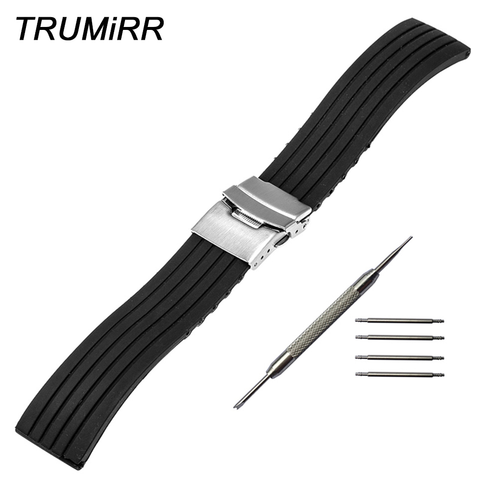 Silicone Rubber Strap 22mm for LG G Watch W100 R W110 Urbane W150 Stainless Steel Safety Buckle Band Wrist Belt Bracelet Black lg watch lg watch w150 urbane silver
