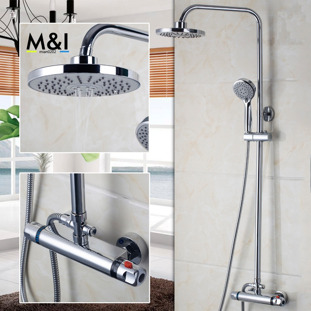 popular thermostatic bath tap buy cheap thermostatic bath tap lots bathroom bath shower mixer square shower faucet tap set brass body thermostatic rainfall shower head shower