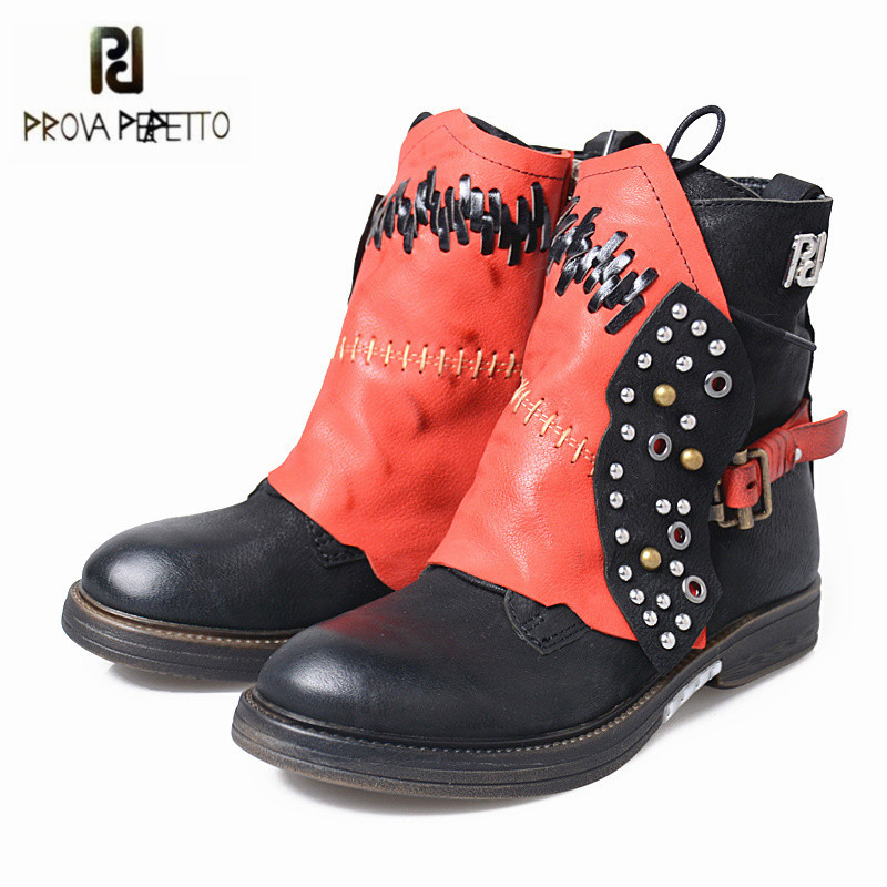 Prova Perfetto Black Women Ankle Boots Platform Flat Botas Mujer Genuine Leather High Boots Rivets Studded Rubber Martin Shoes prova perfetto yellow women mid calf boots fashion rivets studded riding boots lace up flat shoes woman platform botas militares