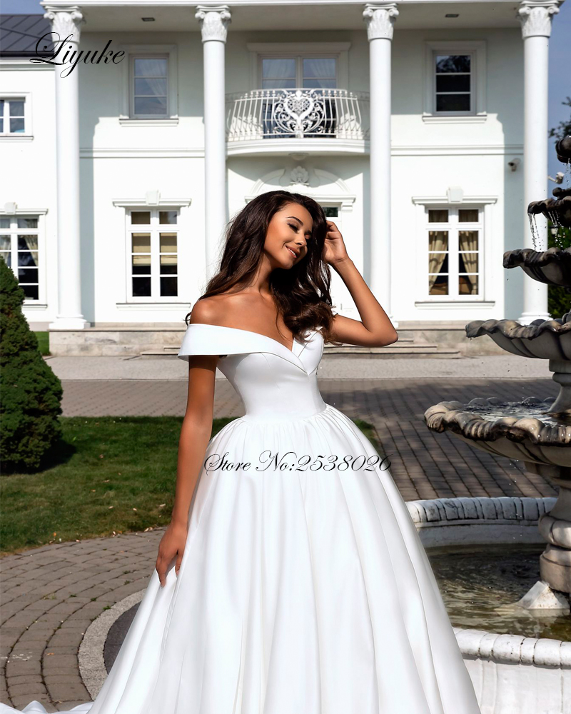 Image 2 - Liyuke Pure White Elegant  Satin A Line Wedding Dress With Folden V Neckline Off The Shoulder Wedding Gown-in Wedding Dresses from Weddings & Events