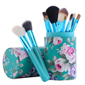 6 Colors 12 pcs Makeup Brush Professional Cosmetics Makeup Eyeshadow Foundation Lip Brush + Makeup Brushes Container Cup
