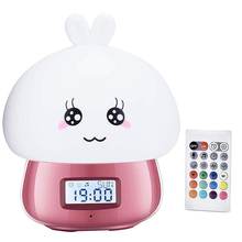 Digital Alarm Clock Wake Up Light USB Charge Silicone Colorful Rabbit Night Lamp Bedside Bedroom Desk With Remote Control