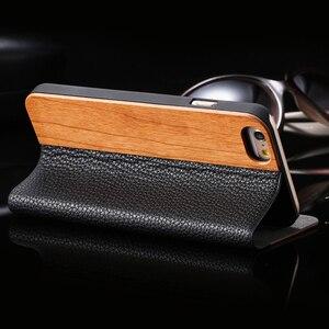 Image 5 - FLOVEME kılıf iPhone 11 6 6 S 7 8 X XS XS Max XR bambu ahşap durumda iPhone 6 s 7 8 artı 11 12 Pro Max Mini Flip Case deri