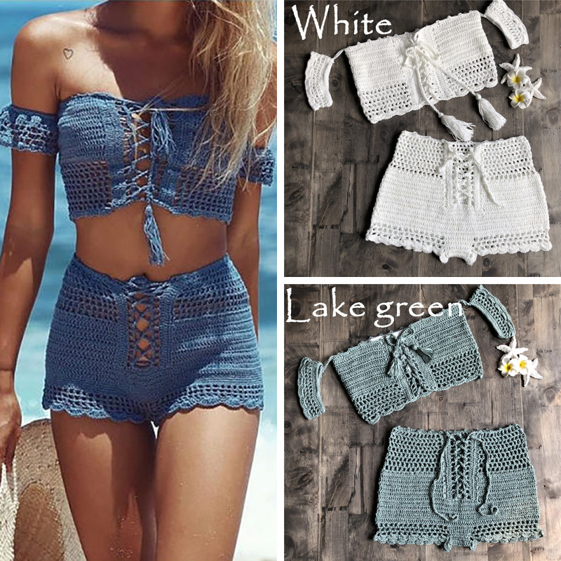 2020New Fashion Beach Bikini Set Knitting Swimsuit Crochet Bohemia Style Off Shoulder Bathing Handmade Tassels Sexy Bikini Bra