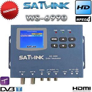 hdmi modulator Satlink WS-6990 HD AV input single-channel DVB-T Modulator Compact and wall mountable WS6990 WS 6990 80 channels hdmi to dvb t modulator hdmi extender over coaxial