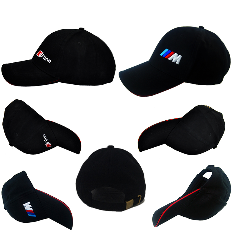 black Car Styling Emblem Baseball Cap fleet Hat For Audi Sline S3 S4 A3 A4 BMW M E39 X5 F30 E81/E82/E87/E88/E60/E61 525i 528i for bmw 5 series e12 e28 e34 e39 e60 e61 f10 f11 f07 523i 528i 525i chrome number letters rear trunk emblem badge sticker