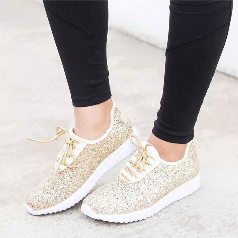 MoneRffi Women Sneakers Sparkly Casual Shoes Glitter Bling Gold Silver Shoes Woman 2019 Summer Plus Size White Sneakers(China)