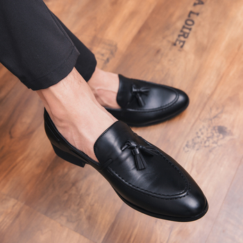 Four season Outdoor Men Dress Tassel Loafers Vintage British Style Leather Slip On Men Wedding business comfortable Shoes northmarch spring autumn new mens business dress shoes fashion slip on tassel leather wedding shoes men handmade work shoes