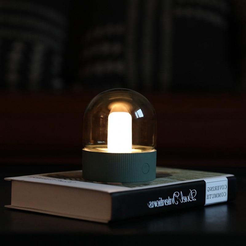 Vintage Glass Night Light USB Charging Retro Nostalgic Desktop Bulb Atmosphere Breathing Dimmable Nightstand Lamp Bedroom Decro