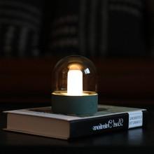 Lámpara de noche de cristal Vintage con carga USB, Bombilla Retro nostálgica de escritorio, lámpara de mesita de noche regulable, lámpara de dormitorio