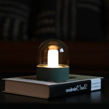 Vintage cam gece lambası USB şarj Retro nostaljik masaüstü ampul atmosfer solunum kısılabilir komidin lamba yatak odası dekor