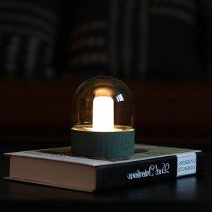 Image 1 - Vintage di Vetro Luce di Notte del USB di Ricarica Nostalgico Retrò Desktop Lampada Atmosfera di Respirazione Dimmable Comodino Camera Da Letto Lampada Da Decro