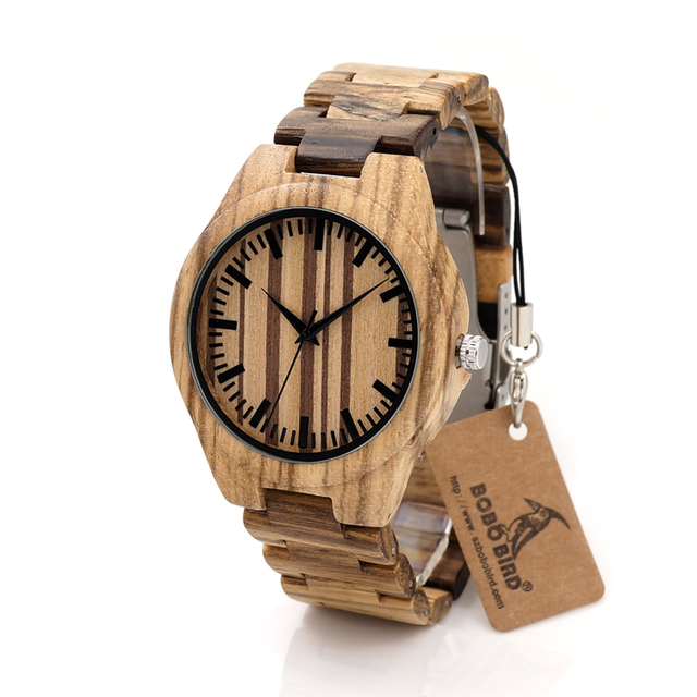 BOBO BIRD G22 Mens Zebra Wooden Watch Top Brand Luxury Watches Japanese 2035 Movement Quartz Watches with Full Wood Band as Gift