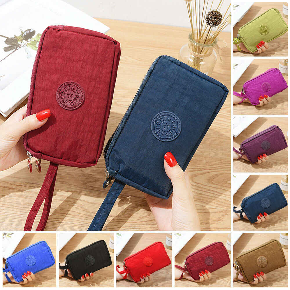 2019 Fashion Womens Solid 3 Layer Canvas Telefoon Tas Korte Portemonnee Drie-Layer Rits Coin Card Key Purse