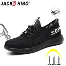 a1b54f30 JACKSHIBO obuwie ochronne dla mężczyzn letnie oddychające buty robocze  lekki anty-smashing buty męskie prace