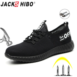 JACKSHIBO Safety Shoes For Men Summer Breathable Work Shoes Lightweight Anti-smashing Shoes Male Construction Work Mesh Sneakers