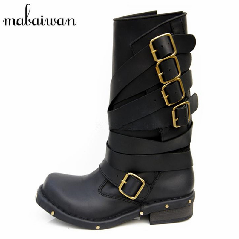 Mabaiwan Handmade Rivets Military Cowboy Boots Mid Calf Genuine Leather Women Motorcycle Boots Vintage Buckle Straps Shoes WomanMabaiwan Handmade Rivets Military Cowboy Boots Mid Calf Genuine Leather Women Motorcycle Boots Vintage Buckle Straps Shoes Woman