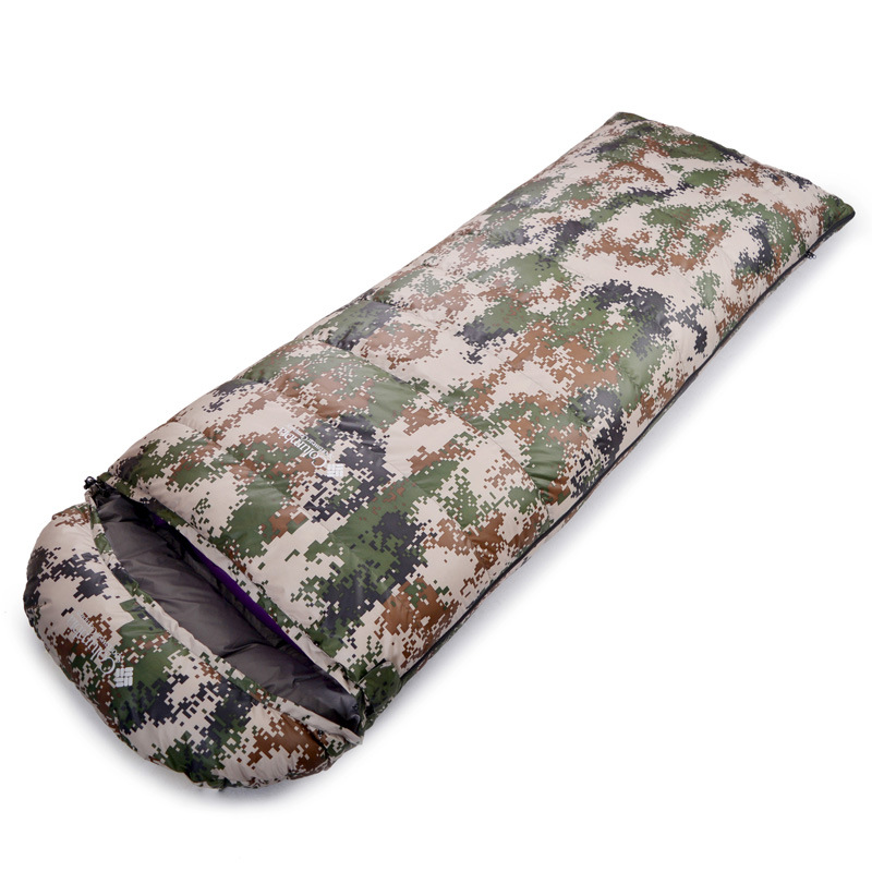 где купить Outdoor 800g duck down adult light down sleeping bags fight Double thick warm winter camping lunch camouflage sleep bag дешево