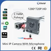HD 720 P Mini Macchina Fotografica del IP Wide Angle140 Gradi 1.0MP ONVIF AudioP2P Cellulare Sorveglianza CCTV IP Camera 2.1mm Pin hole lente