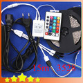 New DIY Waterproof 15M 3528 RGB LED Strip + 24Key IR Controller + 12V 6A Adapter 3528 RGB LED Strip Light Set Free Shipping