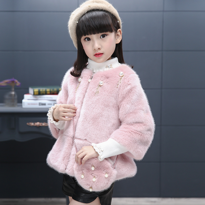 Winter Girls Faux Fur Coats Toddler Girls Outerwear Snowsuit Kids Jacket Children Coats With Fur ice blue long cape for kids hooded wedding cloak faux fur jacket winter kid children outerwear coats white ivory
