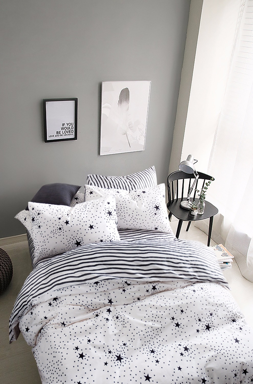 Black and white bed sets for girls - Black White Star Print Kids Boys Girls Bedding Set Twin Queen Size North European 4