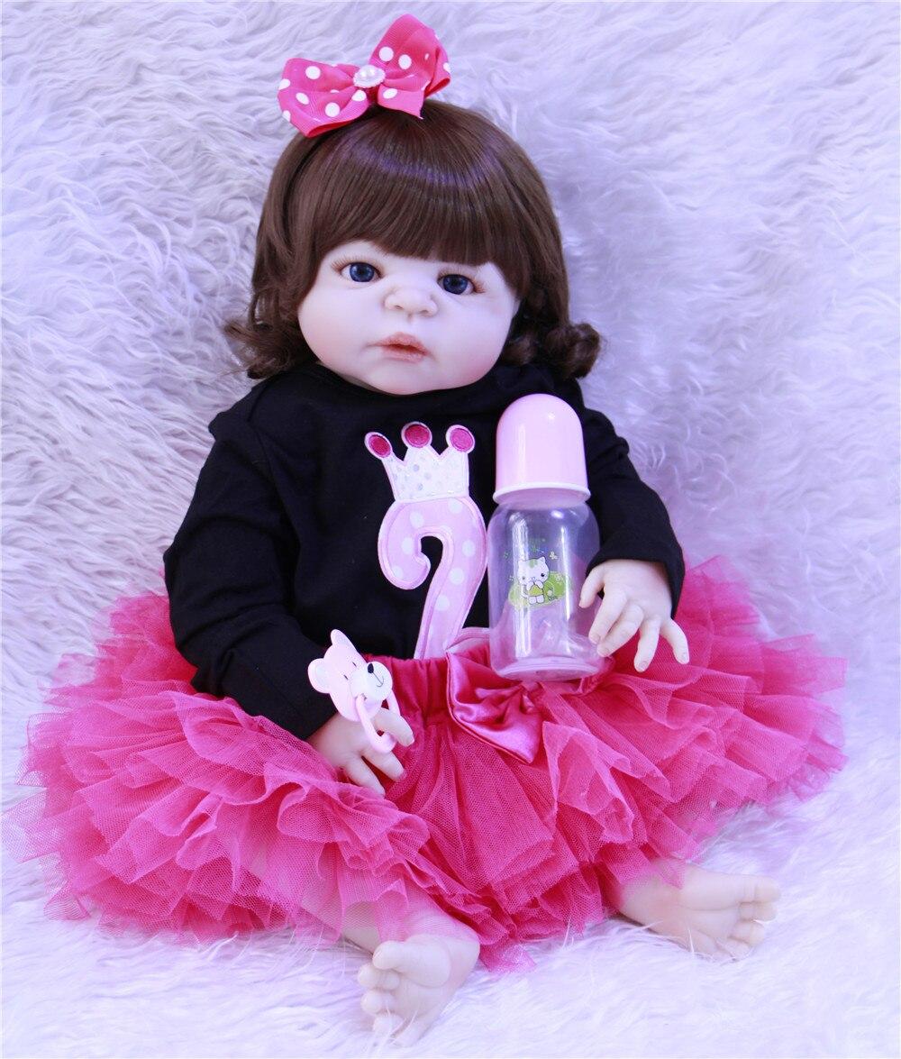 Bebes reborn menina NPK 57 cm Corpo Cheio de Silicone Bebê Reborn Bonecas Victoria New born baby girl princesa boneca de brinquedo bonecas de presente