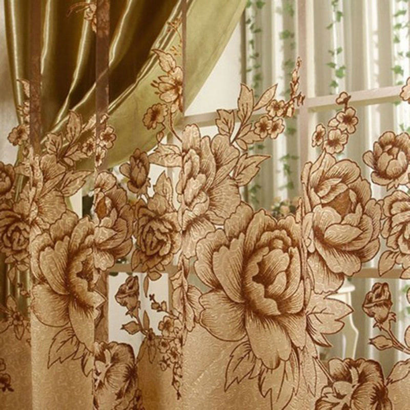 Peony Pattern Voile Curtains Living Room Window Curtain Tulle Sheer Curtain New