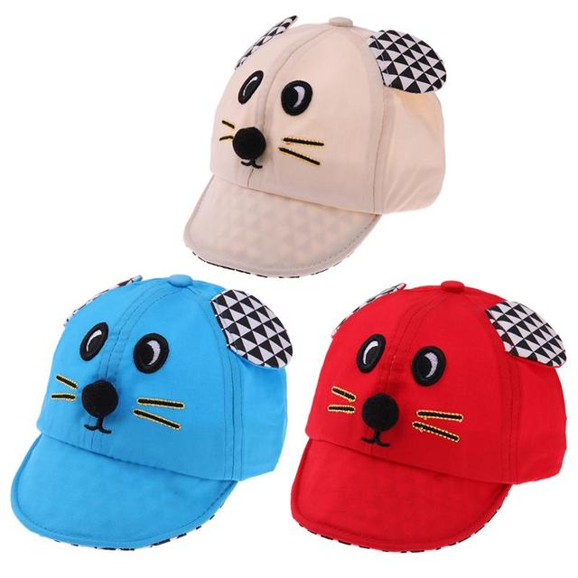 New Baby Hat with Cartoon Mouse Ear Design Kids Baseball Hat Boy and Girls  Sun Hat Summer Cotton Caps Girls Sun Visors a434f4ca8475