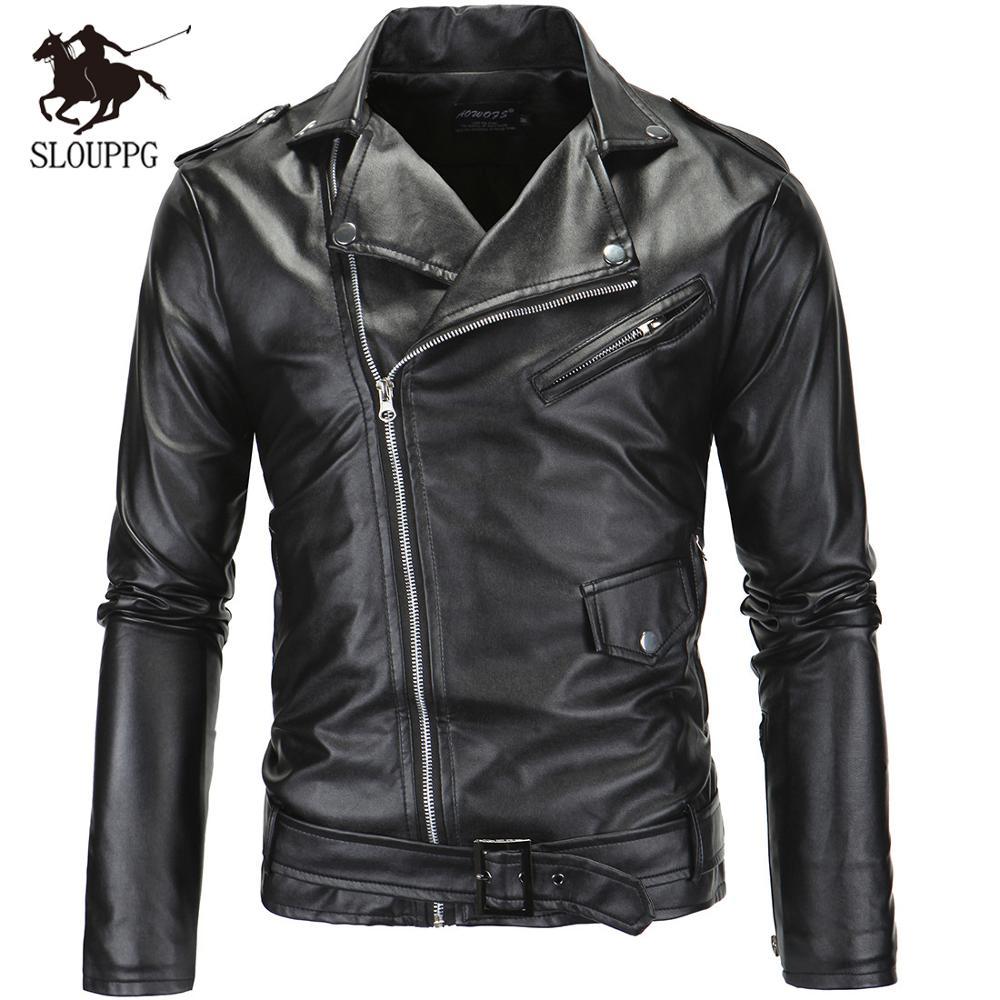 Jacket Motorcycle Autumn Zipper Spring PU Slim Oblique Men Men's