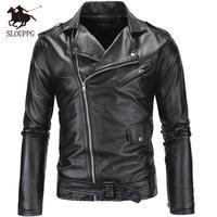 Весенне-осенняя мотоциклетная кожаная куртка для мужчин, приталенная косая куртка из искусственной кожи на молнии, мужские кожаные куртки, ...