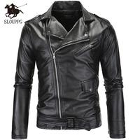 Spring Autumn Motorcycle Leather Jacket Men Slim Fit Oblique Zipper PU Jacket Men's Leather Jackets Motorcycle PU Leather men