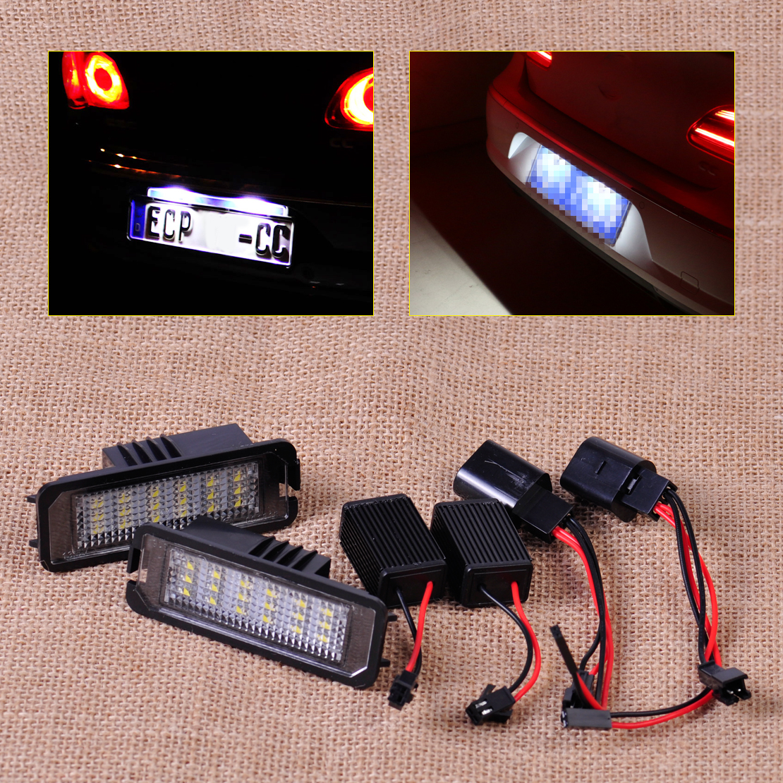 CITALL 2pcs White Error Free 18 LED License Plate Light Lamp Kit for VW Golf MK4 MK5 MK6 Eos Passat New Beetle Polo Phaeton Lupo  2x error free led license plate light for volkswagen vw passat 5d passat r36 08