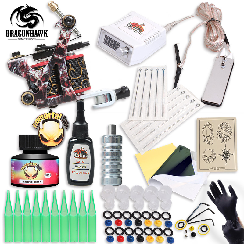 Free Ship Complete Professional Tattoo Kit With IMMORTAL High Quality USA Brand Ink As Gift