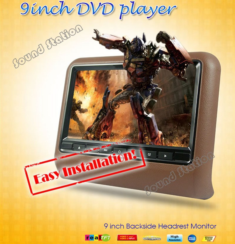 2 Pcs X 9 Inch Headrest Monitor Multimedia Car Monitor Headrest DVD Player Car Head Rest TFT LCD Screen USB Accesorios Automovil