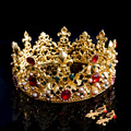 Gold Plating Baroque Crystal Bridal Crown Metal Flower Wedding Tiara Hairbands Women Rhinestone Hair Jewelry