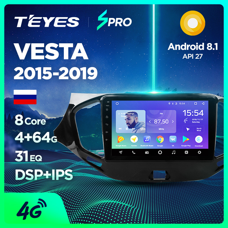 TEYES SPRO For Lada VESTA 2015-2019 Car Radio Multimedia Video Player Navigation GPS Android 8.1 Accessories Sedan No dvd 2 din(China)
