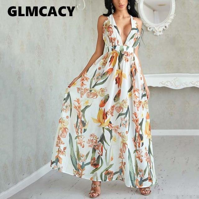 85c0a054383 Women Backless Boho Floral Print Long Beach Dress Deep V Neck Chiffon Sexy  Summer Dress Autumn Maxi Dress Party Vestidos